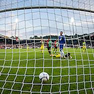 NIJMEGEN, NEC - ADO Den Haag, voetbal, Eredivisie seizoen 2015-2016, 03-10-2015, Stadion De Goffert, ADO Den Haag speler Aaron Meijers (3R liggend) heeft de bal in zijn eigen doel gescoten, 1-0 voor NEC, NEC speler Navarone Foor (M) juicht, ADO Den Haag keeper Martin Hansen (4R baalt.