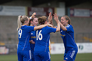 Cheryl Kilcoyne (16) is congratulated after opening the scoring - Forfar Farmington v Glasgow Girls in the SWPL 2 at Station Park, Forfar, Photo: David Young<br /> <br />  - &copy; David Young - www.davidyoungphoto.co.uk - email: davidyoungphoto@gmail.com
