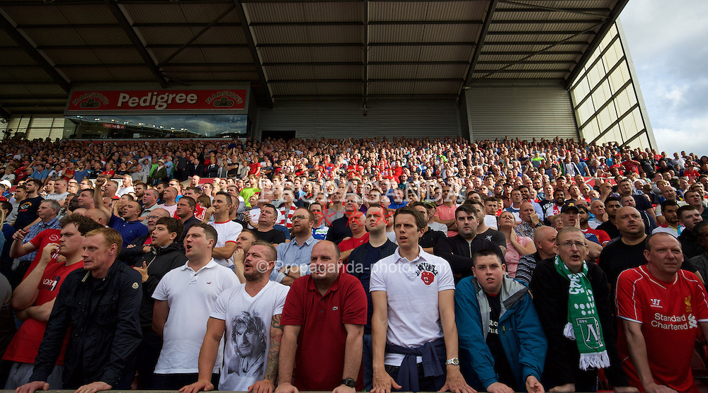 STOKE-ON-TRENT, ENGLAND - Sunday, August 9, 2015: Liverpool supporters during the Premier League match against Stoke City at the Britannia Stadium. (Pic by David Rawcliffe/Propaganda)
