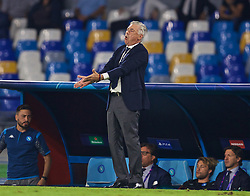 NAPLES, ITALY - Tuesday, September 17, 2019: SSC Napoli's head coach Carlo Ancelotti reacts during the UEFA Champions League Group E match between SSC Napoli and Liverpool FC at the Studio San Paolo. (Pic by David Rawcliffe/Propaganda)