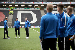 Coventry City players inspect the pitch as they arrive Stadium MK for their FA Cup Fourth Round match against MK Dons