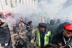 April 13, 2018 - Paris, Ile-de-France, France - Railworkers of Sud Rail and CGT union join striking students  at the gate of Tolbiac campus in Paris on April 13, 2018 during a joint demonstration to protest against planned reforms of the French government on April 13, 2018 in Paris. (Credit Image: © Michel Stoupak/NurPhoto via ZUMA Press)