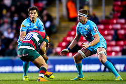 Wynand Olivier of Worcester Warriors is tackled by Tom Hardwick of Leicester Tigers - Mandatory by-line: Robbie Stephenson/JMP - 03/11/2018 - RUGBY - Welford Road Stadium - Leicester, England - Leicester Tigers v Worcester Warriors - Gallagher Premiership Rugby
