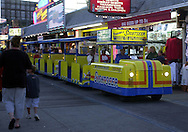 A Tram car cruises on the Boardwalk loaded with tourists, Wednesday, August 7, 2002, in Wildwood, New Jersey. (Photo by William Thomas Cain/photodx.com)