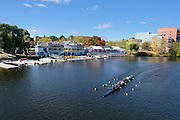 """Cambridge. MA. USA. General View of the course, From Eliot Bridge, left, Cambridge Boathouse,  and right the Directors enclosure. 49th Edition of the """"2013 Head of the Charles"""".<br /> <br /> 13:40:48  Friday  18/10/2013<br /> <br /> [Mandatory Credit. Peter SPURRIER /Intersport Images]"""