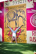 Doing yoga at Miami's Wynwood Walls complex