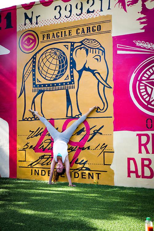 Doing yoga at Miami's Wynwood Walls complex