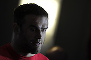 Jamie Roberts of Wales looks on. Wales rugby team training and press conference at the Vale, Hensol near Cardiff, South Wales on Thursday 14th March 2013.  the team are training ahead of the final RBS Six nations match against England this weekend. pic by  Andrew Orchard, Andrew Orchard sports photography,