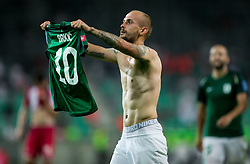 Goran Brkic of NK Olimpija celebrates after he scored  fifth goal during football match between NK Aluminij and NK Olimpija Ljubljana in the Final of Slovenian Football Cup 2017/18, on May 30, 2018 in SRC Stozice, Ljubljana, Slovenia. Photo by Vid Ponikvar / Sportida