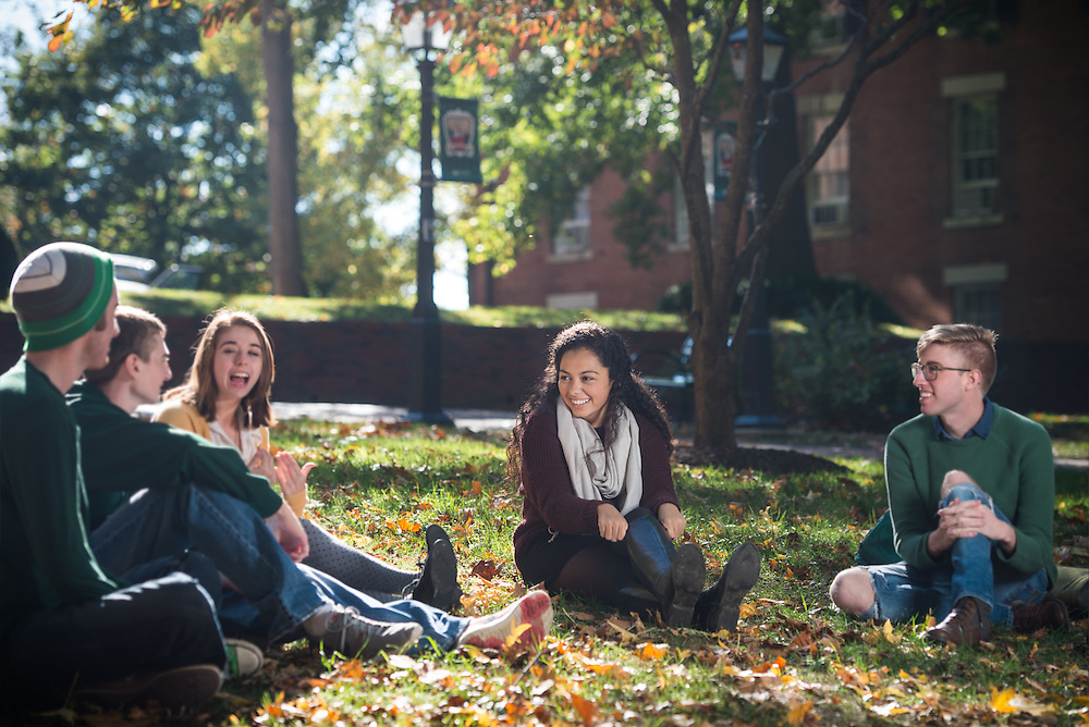 Selena Walsh, center, meets with friends on College Green on October 19, 2016.