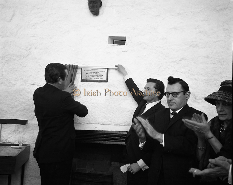 """Bloomsday at Joyce Tower,Sandycove..1972..16.06.1972..06.16.1972..16th June 1972..As part of the Bloomsday celebrations,Joyce Tower,Sandycove was renovated and opened to the public.The tower is an important part of the novel """"Ulysses"""" written by James Joyce.The celebration in part is organised by the Eastern Regional Tourism Organisation..Image of.Mr.P.J.Power,Chairman,E.R.T.C..unveiling the plaque dedicated to Mr Thomas Keating, for his genorisity in the restoration."""