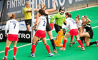 ANTWERP -    Gemma Flynn (r) scored for NZL during  the  semifinal hockeymatch   Korea vs New Zealand.  WSP COPYRIGHT KOEN SUYK
