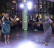 Sheri Wise (left) and Nan-C Moss, both from Dayton dance at the 21st birthday party of the Human Race Theatre Company in Sinclair's Ponitz Center, Saturday night, April 28th.