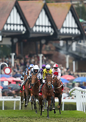 Allmankind ridden by Daniel Tudhope leads the field in the Homeserve Dee Stakes during Boodles Ladies Day at Chester Racecourse.