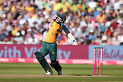 Tom Moores of Notts Outlaws plays a shot which sees him caught by Riki Wessels during the Vitality T20 Finals Day 2019 match between Notts Outlaws and Worcestershire Rapids at Edgbaston, Birmingham, United Kingdom on 21 September 2019.