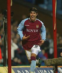 BIRMINGHAM, ENGLAND - Tuesday, January 6, 2004: Aston Villa's Juan Pablo Angel celebrates scoring the opening goal against Portsmouth during the Premiership match at Villa Park. (Pic by David Rawcliffe/Propaganda)