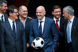 © Licensed to London News Pictures. 01/02/2016. London, UK. Former England manager Fabio Capello, FIFA Presidential Candidate Gianni Infantino and former Chelsea manager José Mourinho attend FIFA Presidential Candidate Gianni Infantino's campaign launch at Wembley Stadium in London on Monday 1 February 2016. Photo credit: Tolga Akmen/LNP