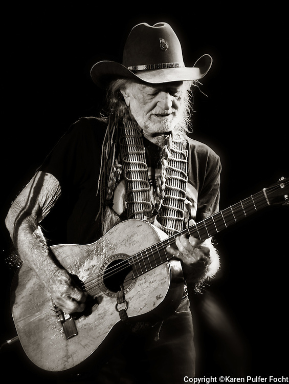 Willie Nelson, age 83, performs in Tunica, Mississippi at the Horseshoe Casino on Jan. 6th 2017. (Photo by Karen Pulfer Focht © All rights Reserved)