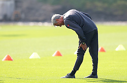 Manchester United manager Jose Mourinho stretches during training - Mandatory by-line: Matt McNulty/JMP - 14/09/2016 - FOOTBALL - Manchester United - Training session ahead of Europa League Group A match against Feyenoord