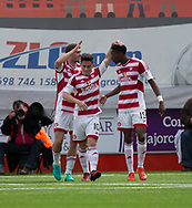 Hamilton&rsquo;s Rakish Bingham is congratulated by Daniel Redmond after scoring the opener - Hamilton Academical v Dundee in the Ladbrokes Scottish Premiership at the SuperSeal Stadium, Hamilton, Photo: David Young<br /> <br />  - &copy; David Young - www.davidyoungphoto.co.uk - email: davidyoungphoto@gmail.com