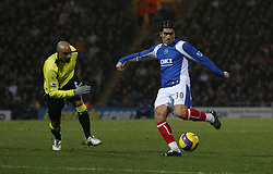 Portsmouth, England - Saturday, February 10, 2007: Portsmouth's Pedro Mendes score the first goal against Manchester City during the Premiership match at Fratton Park. (Pic by Chris Ratcliffe/Propaganda)