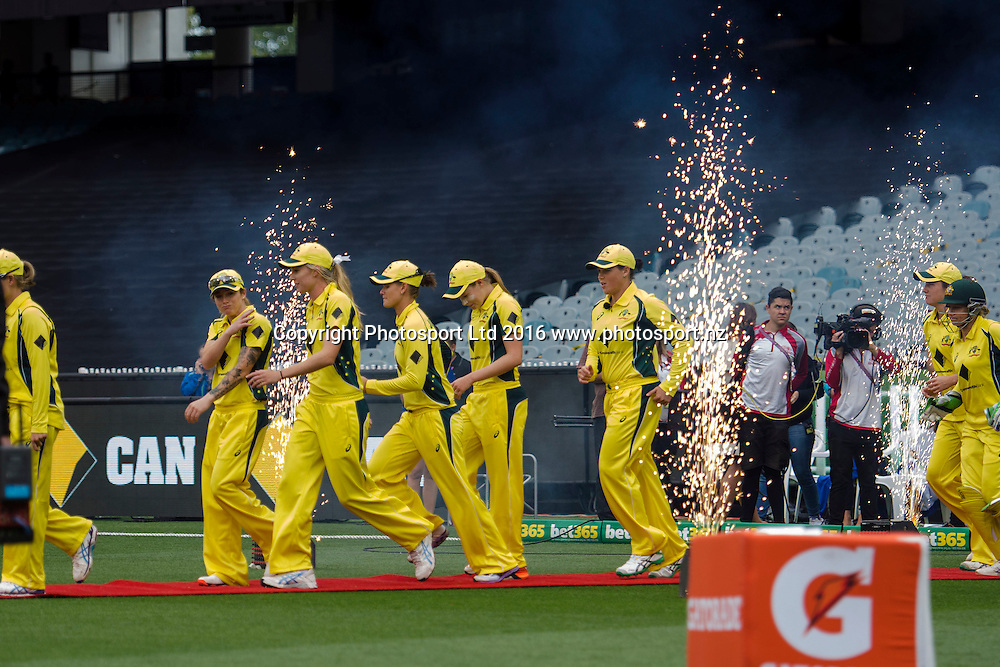Australian players take the field during the Women's Twenty20 match between Australia and India at the MCG in Melbourne, Australia. Friday 29 January 2016. Copyright photo: Raghavan Venugopal / www.photosport.nz