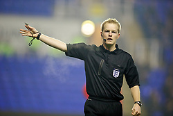 READING, ENGLAND - Wednesday, March 12, 2014: Referee G. Ward takes charge of Reading versus Liverpool during the FA Youth Cup Quarter-Final match at the Madejski Stadium. (Pic by David Rawcliffe/Propaganda)