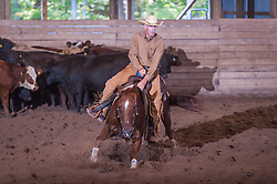 September 23, 2017 - Minshall Farm Cutting 5, held at Minshall Farms, Hillsburgh Ontario. The event was put on by the Ontario Cutting Horse Association. Riding in the Non-Pro Class is Steve Neville on Peppy Bag O Lena owned by the rider.