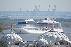 © Licensed to London News Pictures. 05/05/2016. Viking Sea passes Gravesend. Brand new cruise ship Viking Sea has arrived in London for a christening ceremony at Greenwich. The 227 metre long cruise ship carries 930 passengers and is the biggest cruise ship to ever be christened in London. Credit : Rob Powell/LNP