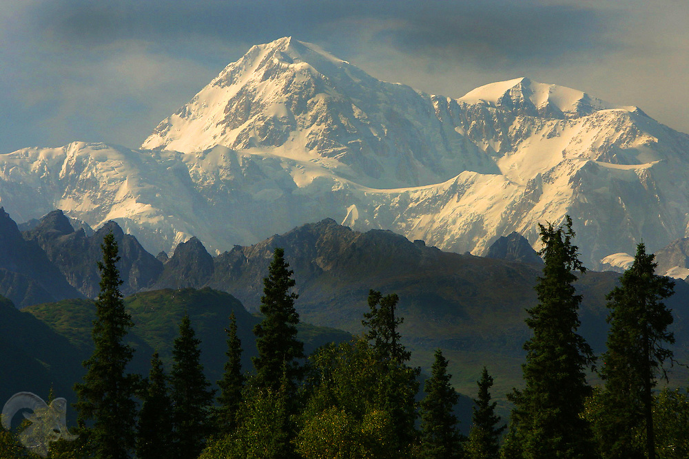 Mount McKinley, or Denali, is shown from a viewpoint off of the Parks Highway, just west of Byers Lake.
