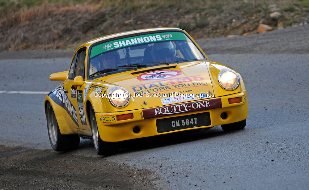 #577 - Rex Broadbent & Chris Randell - 1974 Porsche 911 Carrera RS.Day 2.Targa Tasmania 2010.29th of April 2010.(C) Joel Strickland Photographics.Use information: This image is intended for Editorial use only (e.g. news or commentary, print or electronic). Any commercial or promotional use requires additional clearance.