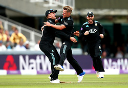 Sam Curran of Surrey celebrates taking the wicket of Michael Lumb of Nottinghamshire - Mandatory by-line: Robbie Stephenson/JMP - 01/07/2017 - CRICKET - Lord's Cricket Ground - London, United Kingdom - Nottinghamshire v Surrey - Royal London One-Day Cup Final 2017