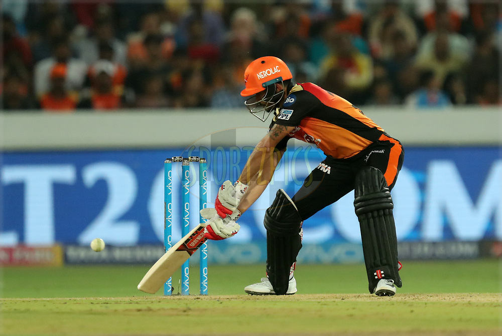 Manish Pandey of Sunrisers Hyderabad during match twenty five of the Vivo Indian Premier League 2018 (IPL 2018) between the Sunrisers Hyderabad and the Kings XI Punjab  held at the Rajiv Gandhi International Cricket Stadium in Hyderabad on the 26th April 2018.<br /> <br /> Photo by: Prashant Bhoot /SPORTZPICS for BCCI