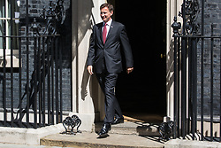 London, UK. 23 July, 2019. Jeremy Hunt MP, Secretary of State for Foreign and Commonwealth Affairs and Conservative leadership candidate, leaves 10 Downing Street following the final Cabinet meeting of Theresa May's Premiership. The name of the new Conservative Party Leader, and so the new Prime Minister, is to be announced at a special event afterwards.