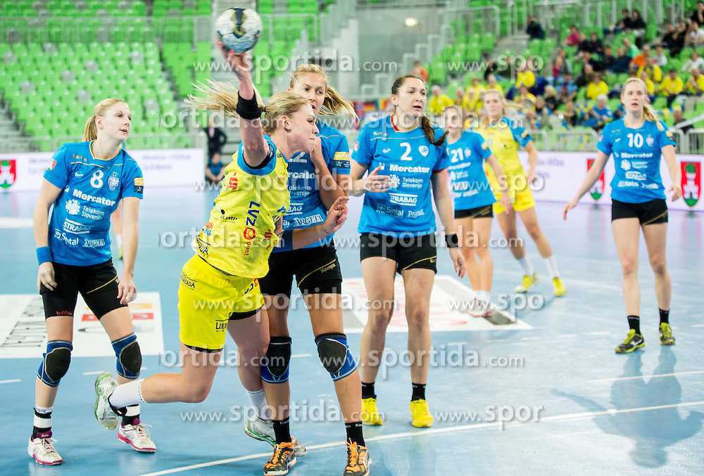 Luisa Schulze of Leipzig during handball match between RK Krim Mercator (SLO) and HC Leipzig (GER) in 6th Round of Women's EHF Champions League 2014/15, on November 21, 2014 in Arena Stozice, Ljubljana, Slovenia. Photo by Vid Ponikvar / Sportida