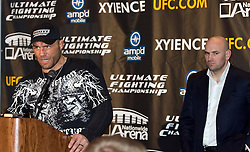Mar 3, 2007; Columbus, OH, USA;  New UFC heavyweight champion Randy Couture speaks after defeating Tim Sylvia at UFC 68 at the Nationwide Arena in Columbus, OH.