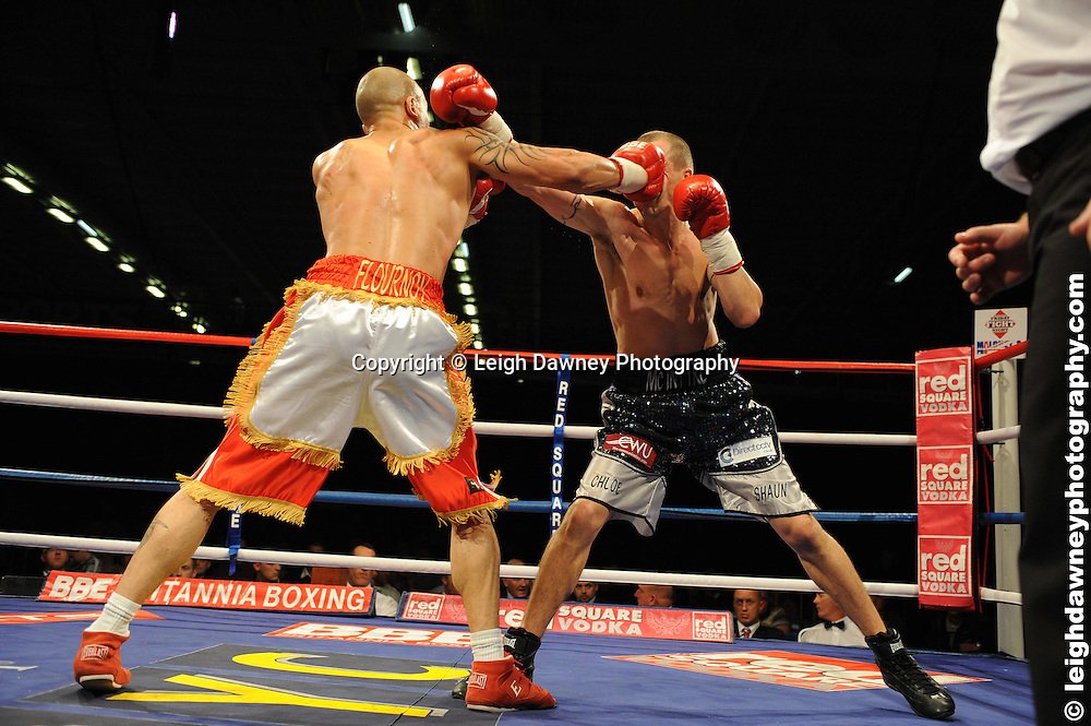 Brett Flournoy (white shorts) v Kevin McIntyre deemed a no contest at the Bolton Arena, Bolton, UK on 23rd September 2009. Frank Maloney Promotions. photo credit © Leigh Dawney
