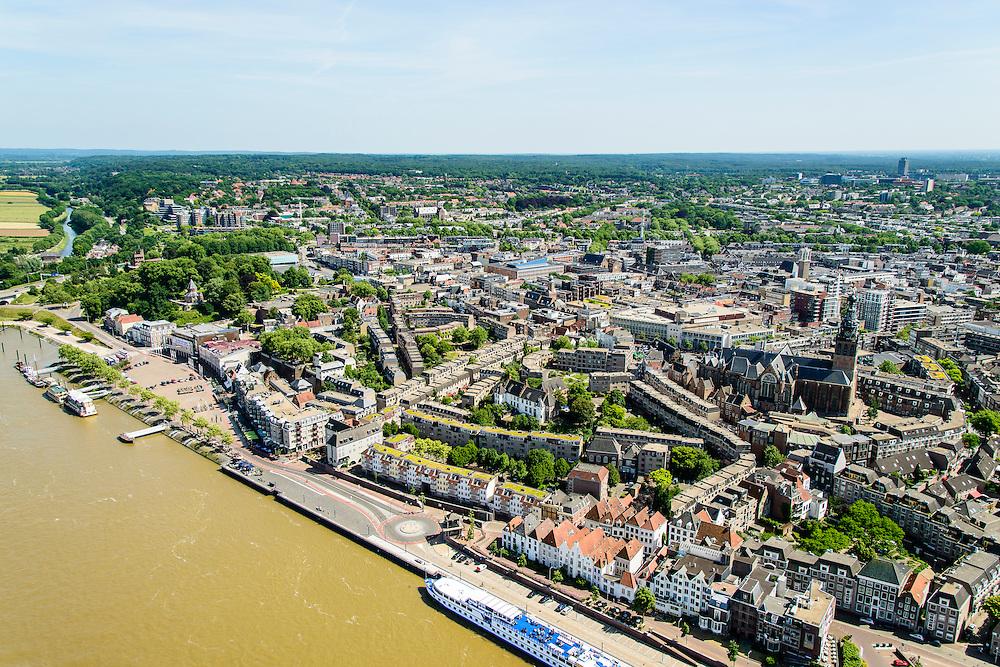 Nederland, Gelderland, Nijmegen, 09-06-2016; binnenstad Nijmegen, de Benedenstad met Waalkade.<br /> <br /> Town of Nijmegen, inner city.<br /> luchtfoto (toeslag op standard tarieven);<br /> aerial photo (additional fee required);<br /> copyright foto/photo Siebe Swart