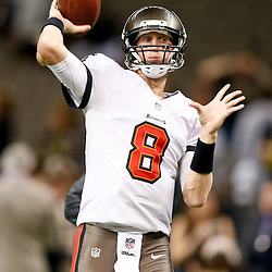 Dec 29, 2013; New Orleans, LA, USA; Tampa Bay Buccaneers quarterback Mike Glennon (8) against the New Orleans Saints prior to kickoff of a game at the Mercedes-Benz Superdome. Mandatory Credit: Derick E. Hingle-USA TODAY Sports