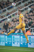 Tommy Spurr (Preston North End) keeps the ball in during the EFL Cup 4th round match between Newcastle United and Preston North End at St. James's Park, Newcastle, England on 25 October 2016. Photo by Mark P Doherty.
