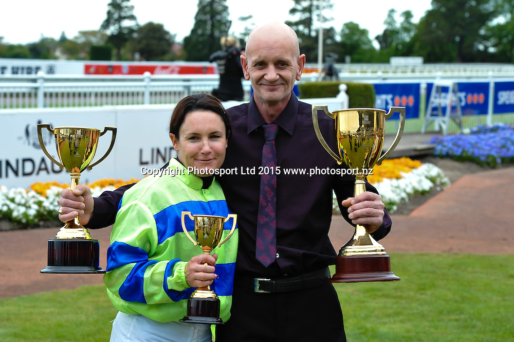 Rider Lisa Allpress and Owner Leon Andrew  wins the Christchurch Casino 152nd New Zealand Cup during the New Zealand Cup Meeting at Riccarton Park, Christchurch. 14th November 2015. Copyright Photo: John Davidson / www.photosport.nz