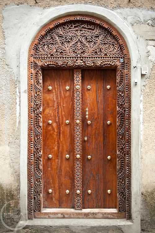 Classic wooden door from stone town in Zanzibar