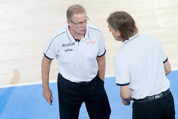 Eddy Casteels, head coach of Belgium talking with Jacques Stas, Coach Assistant  during basketball match between National teams of Latvia and Belgium in 2nd Round at Day 12 of Eurobasket 2013 on September 14, 2013 in SRC Stozice, Ljubljana, Slovenia. (Photo By Urban Urbanc / Sportida)