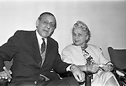 25/09/1962<br /> 09/25/1962<br /> 25 September 1962<br /> Mrs Ida Rosenthal arrives at Dublin Airport. Mrs Rosenthal, Founder and Chairman of the board of Maidenform Inc., U.S.A., arrived for a two day visit to Ireland. She would appear on Telefis Eireann; visit a number of Dublin stores and hold a reception at the Gresham Hotel to celebrate 40 years of business. Picture shows Mr Robert Briscoe TD (left) and Mrs Rosenthal in the airport.