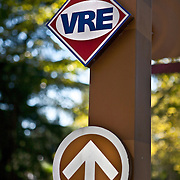A sign pointing to the VRE station in Crystal City.