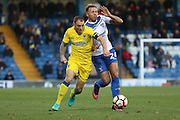 AFC Wimbledon defender & captain Barry Fuller (2) battles for possession during The Emirates FA Cup 1st Round match between Bury and AFC Wimbledon at the JD Stadium, Bury, England on 5 November 2016. Photo by Stuart Butcher.