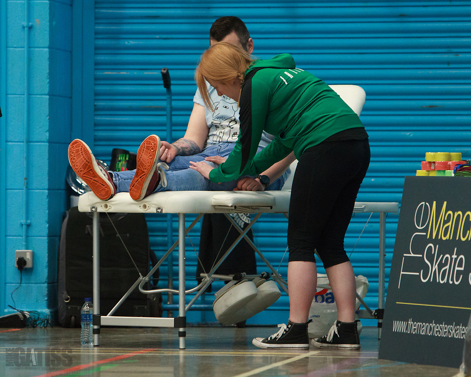 Holly Warne providing sports massage to the competitors at the MRD Sevens Tournament, 2018-03-04