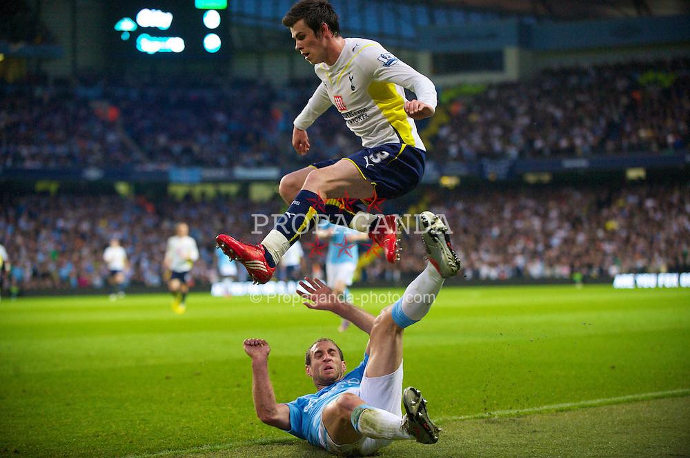 MANCHESTER, ENGLAND - Wednesday, May 5, 2010: Manchester City's Pablo Zabaleta tackles Tottenham Hotspur's Gareth Bale during the Premiership match at City of Manchester Stadium. (Photo by David Rawcliffe/Propaganda)