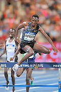 Conseslus Kipruto (KEN) places fifth in the steeplechase in  8:13.75; during the Meeting de Paris, Saturday, Aug. 24, 2019, in Paris. (Jiro Mochizuki/Image of Sport via AP)