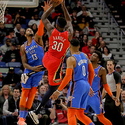 Dec 12, 2018; New Orleans, LA, USA; New Orleans Pelicans forward Julius Randle (30) shoots over Oklahoma City Thunder forward Paul George (13) during the first quarter at the Smoothie King Center. Mandatory Credit: Derick E. Hingle-USA TODAY Sports